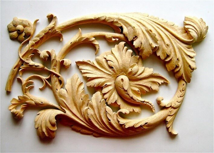 Beautiful leaf wood carving